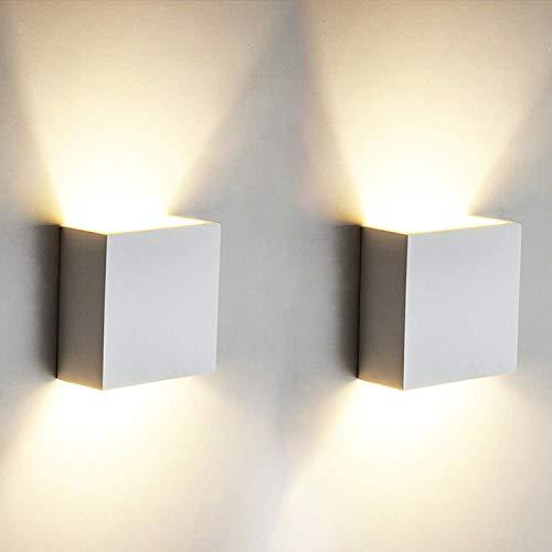 2 Stücke 6W LED Wandleuchte Up Down Indoor Wandleuchte Moderne Aluminium Uplighter Downlighter Wandleuchte Leuchten für Wohnzimmer Schlafzimmer Badezimmer Küche Esszimmer warmes Weiß