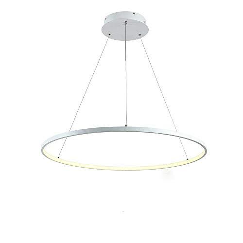 Pendelleuchte LED Warmweiß Esszimmer Modern Runde Lampe 1 Ring Hängeleuchte Kronleuchter Decke Deko Beleuchtung Aluminium Acryl Leuchte Wohnzimmer Küche Hängelampe Weiß 25W Ø 80cm Höhenverstellbar