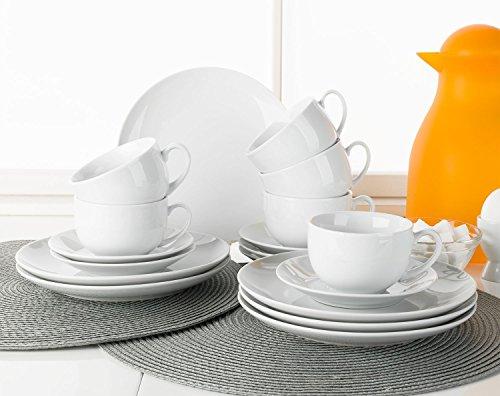 Home4You Kaffee-Service Kaffeegeschirr Geschirrset Viola  18-TLG 6 Personen  Weiß  Porzellan