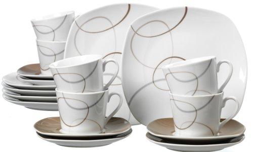 Ritzenhoff Breker Kaffeeservice Alina Marron 18-teilig Porzellangeschirr