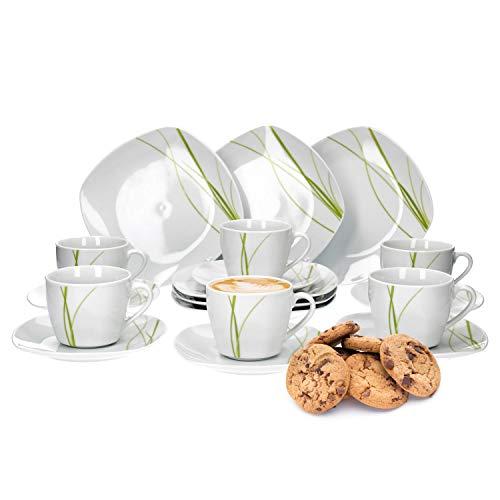 Van Well Bali 18-TLG Kaffeeservice für 6 Personen Kuchenteller  Kaffeetasse und Untertasse im Set Liniendekor Geschirrzubehör edles Marken-Porzellan