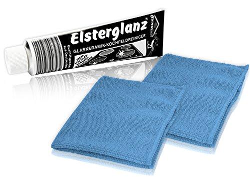 Elsterglanz Glaskeramik-Kochfeldreiniger 150 ml XXL-Tube  zwei Mikrofaser-Tücher  Das Original aus Deutschland