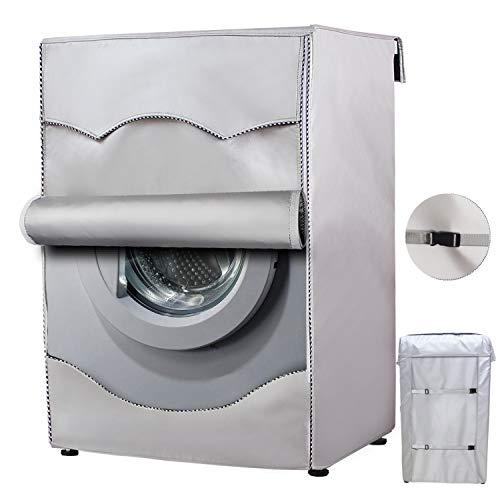 MrYouAbdeckung für WaschmaschinenWärmepumpentrockner Wasserdicht Für Frontlader Waschmaschinenschonbezug Silber Sonnenschutz staubdicht Verdickte XL