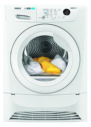Zanussi ZDH8353W Wäschetrockner  8 kg Schontrommel  Weiß  effizienter Wärmepumpentrockner mit Mengenautomatik  niedrige Trocknungstemperaturen für feine Stoffe  235 kWh pro Jahr