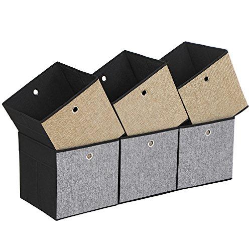 SONGMICS 6er Set Aufbewahrungsbox Seiten in verschiedenen Farben - Grau Braun und Schwarz Faltbare Stoffbox für Kleidung Faltbox Spielzeug-Organizer 30 x 30 x 30 cm ROB30GB