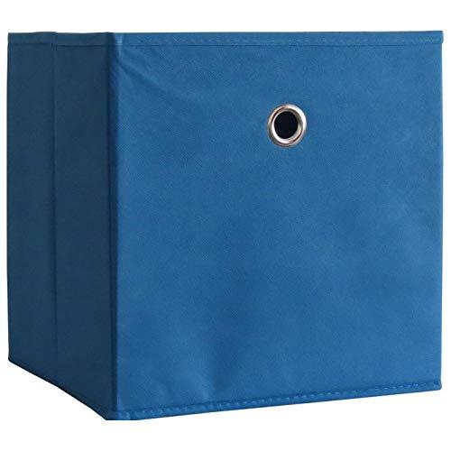 VCM 10er Set Faltbox Klappbox Sammelbox Stoffbox Regalbox Regalkorb ohne Deckel Blau 28 x 27 x 27 cm Boxas