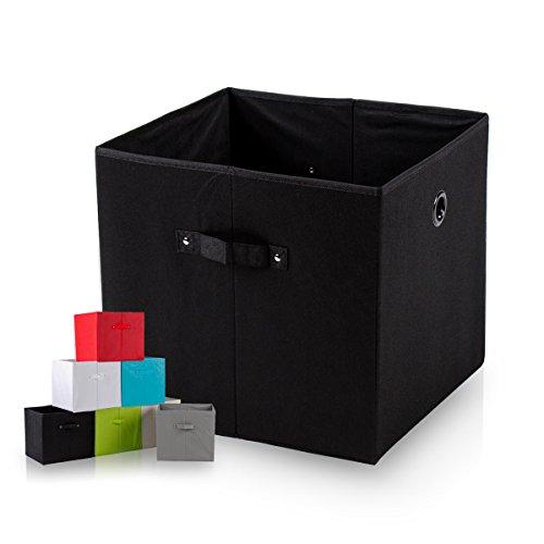 diMio SB1 Faltbox in schwarz 4er Pack - Regalfach Aufbewahrungsbox mit Trageschlaufen und Fingerloch extra tief für noch mehr Stauraum