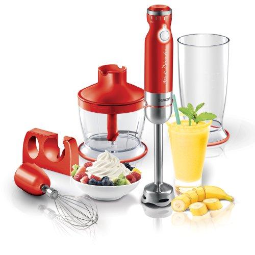 SENCOR SHB 4364RD Stabmixer 3-in-1 Schneebesen Messbecher für Smoothie Suppen und Babynahrung Rot