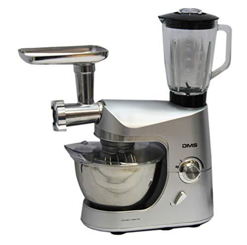 DMS Küchenmaschine Multifunktional mit Standmixer  Smoothie maker  Küchenhelfer mit Fleischwolf  Rührmaschine  1800 W max silber