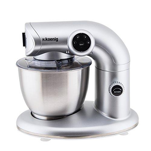 HKoenig KM80 Küchenmaschine  5 L Schüssel aus Edelstahl  bis zu 2kg Teig  3 Aufsätze  1000 W  4 Geschwindigkeitsstufen  silber
