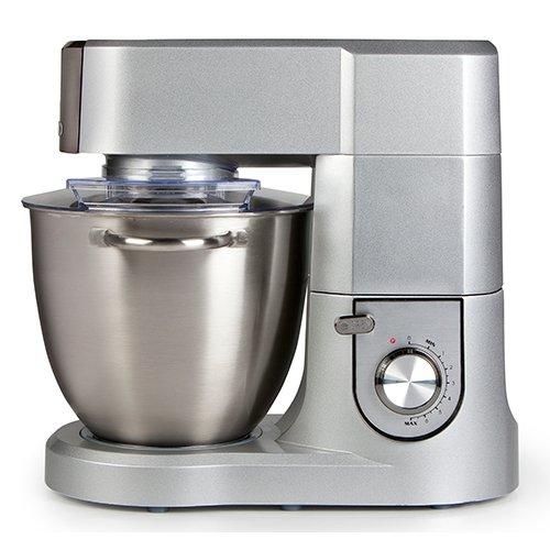 Küchenmaschine mit 67 Liter Schale aus gebürstetem Edelstahl inklusive Knethaken Rührbesen Schneebesen mit variabler Drehzahlregelung und Pulsfunktion silber Domo DO9079KR