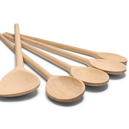 RSW24 5-TLG Kochlöffel-Set aus kräftigem Hartholz 25-35cm Länge aus Buchenholz Hartholz Verschiedene Größen Küchenutensilien Back-löffel und Koch-Löffel