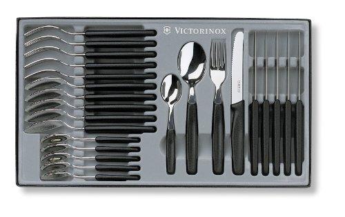 Victorinox 24 teiliges Besteck-Set 6 Tafelmesser mit Wellenschliff 6 Gabeln 6 Löffel 6 Kaffeelöffel Spülmaschinengeeignet schwarz