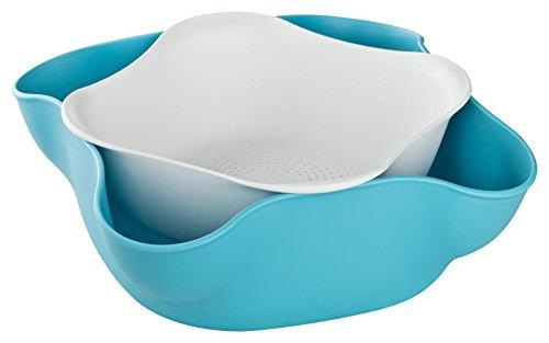 3RBOX REUSE REDUCE RECYCLE Obstkorb  Obstschale  Set besteht aus Schale und Abtropfsieb Ideal für Früchte Nüsse Salat oder Bonbons Blau