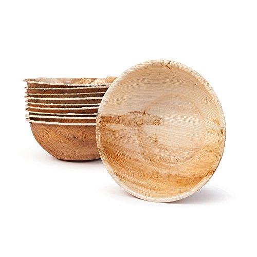 BIOZOYG Umweltfreundliches Einweggeschirr aus Palmblättern  200 Stück Palmblatt Schale rund 425ml Ø15cm  Salat-Schüssel Dipschalen Suppenschale Servierschale Snackschale Einwegschale