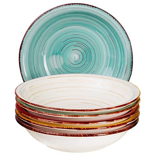 MamboCat Teller-Set Rimini für 6 Personen  Suppenteller Tief  650 ml  Salat-Teller  Runde Servier-Schale  Porzellan-Schüssel  Handbemalt  Mehrfarbig