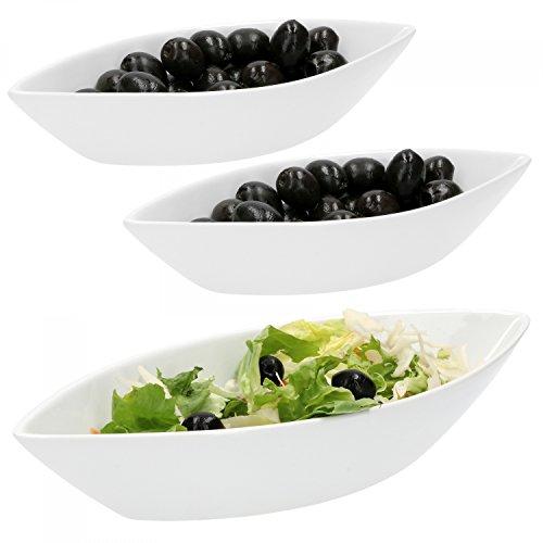 Van Well 3-tlg Schiffchen-Set Büfett  1 x 650 ml  2 x 180 ml  Oliven-Schiff  längliche Salat-Schalen  edles Marken-Porzellan  weiß  Gastro
