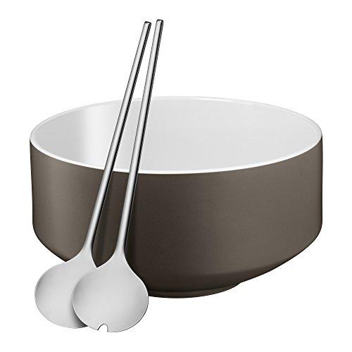 WMF Moto Salatschüssel Set 3-teilig Salatschale Ø 26 cm mit Salatbesteck Porzellan Cromargan Edelstahl poliert spülmaschinengeeignet Lava Grey Satin grau