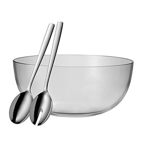 WMF Taverno Salatschüssel Set 3-teilig Glasschale Ø 30 cm Salatbesteck 30 cm Glas Edelstahl Cromargan rostfrei spülmaschinengeeignet