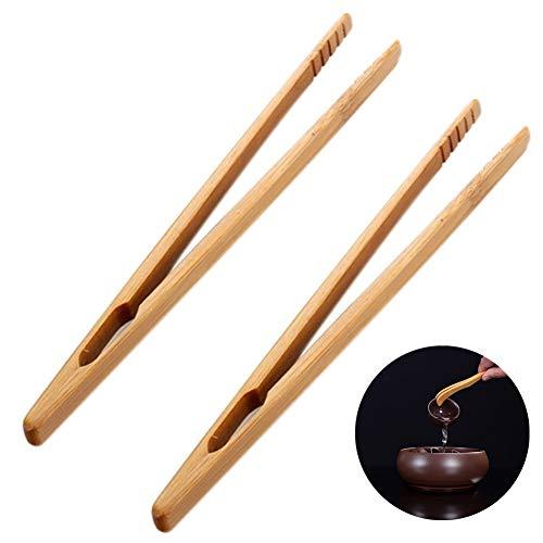 Namgiy 2 x Toastzange Toaster Brotzange Bambus Küchenzange für Toaster Essstäbchen 15 cm