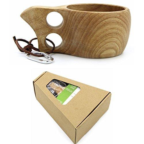 Nopea Hölzern Trinkbecher zwei Löcher Holz Tragbar Reise Tasse Kaffeebecher Trinkbecher Camping Becher Handgefertigt 1 Stück