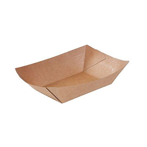 BIOZOYG Kraftkarton Schalen Fingerfood Einweg Schiffchen mit Biobeschichtung I einweggeschirr biologisch abbaubar I Servierschale Dipschälchen I To Go Snackschale 400 ml 250 Stück