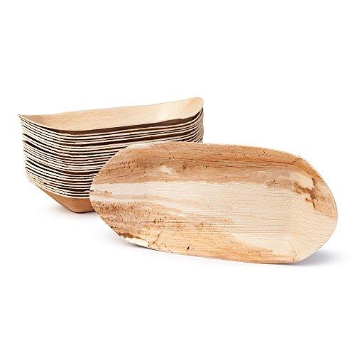 BIOZOYG Palmblatt Schale für Fingerfood I Einweggeschirr biologisch abbaubar kompostierbar I Einweg Schälchen Servierteller Dipschale Snackschale I 25 Stück Party Schiffchen 30 cm