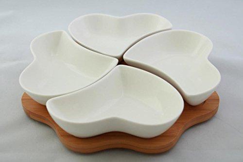 Bambus Dipschalen Set 5-tlg Schalen aus Porzellan Servierschale Snackschale