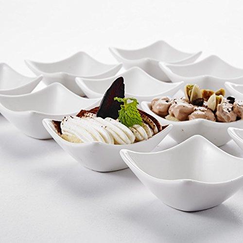 MALACASA Serie RamekinDish 12-teilig Set 375cm60ml SUPER Mini Dessertschale Dessertschälchen Snackschale Porzellan Dessert Snack Chips Nuss Schälchen