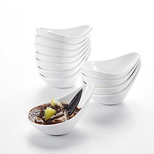 MALACASA Serie RamekinDish 12-teilig Set 45115cm75ml SUPER Mini Dessertschale Dessertschälchen Porzellan Snackschale Muffin Schälchen Dekoschale