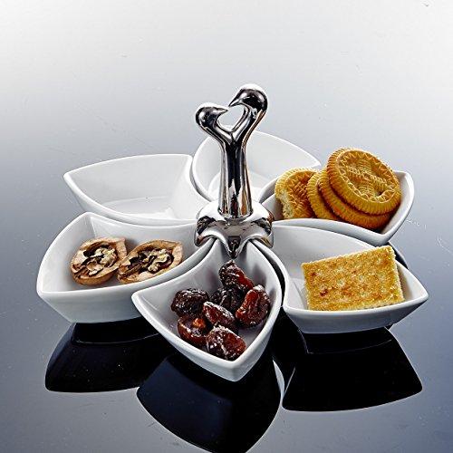 MALACASA Serie SpecialShap 6 teilig Snackschale Drehbar Dessertschale mit Griff Porzellan Pommesschale Vorspeise Nachtisch Snacks Chips Fingerfood Schälchen Dipschale Servierschale