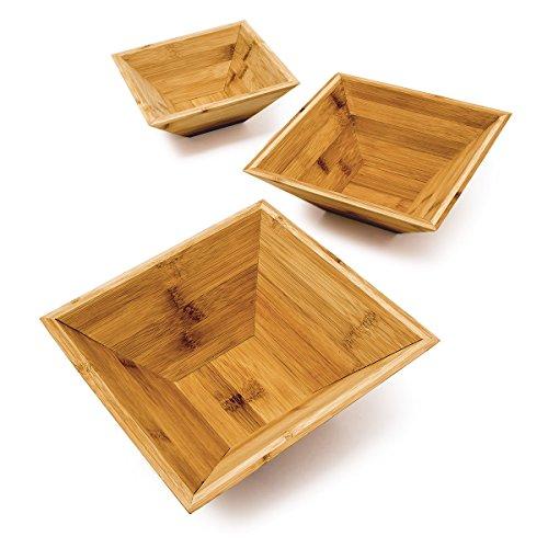 Relaxdays Bambus Schalen im 3er Set als schicke Dekoschale und Obstschale quadratische Schälchen in 3 verschiedenen Größen Snackschale aus Holz ineinander stapelbar auch als Gebäckschale ideal natur