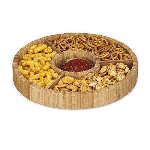 Relaxdays Snackteller aus Bambus rund Snackschale unterteilt Durchmesser 30 cm 4 Schalen natur