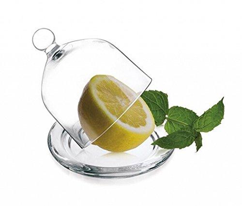 Glashaube Glasglocke mit Teller 6 Varianten Ø95cm Zitronenglocke Glasdom Klar