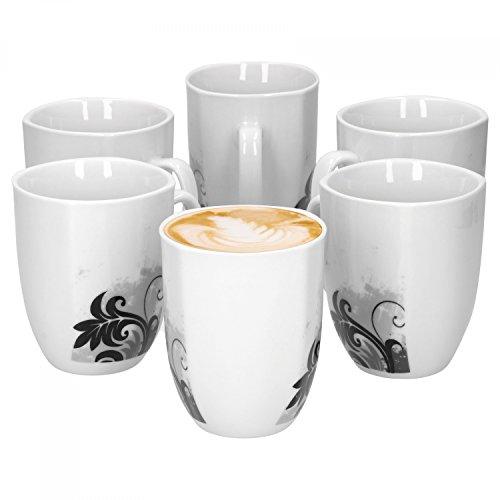 6er Set Kaffeebecher Black Flower 33cl