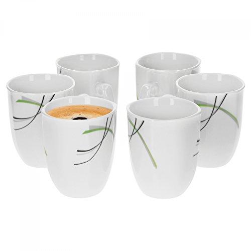 6er Set Kaffeebecher Donna 33cl - Kaffeetasse aus weißem Porzellan mit Linien- Dekor in schwarz grau und grün