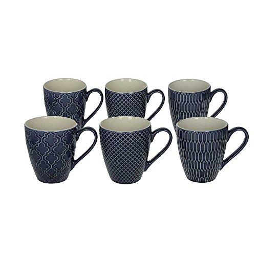 6er Set Kaffeebecher  Kaffeetasse  Becher  MUG aus Keramik 430 ml in blau mit unterschiedlichen Strukturen in der Oberfläche von TOGNANA