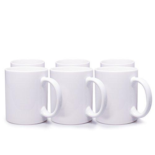 6er Set weiße Keramik Kaffeetassen ohne Druck - zum bemalen und basteln geeignet - Simple Kaffeebecher zum Personalisieren - 300ml - TassenBecherPott für Kaffee Tee und mehr