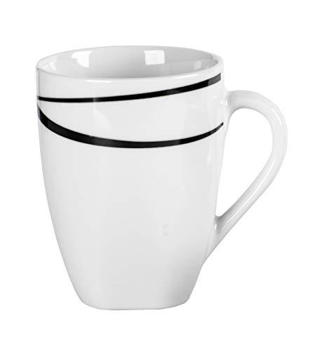 Mäser 991366 Serie Oslo Kaffeebecher 6er-Set große Tassen klassisch zeitlos elegant Porzellan schwarz-weiß
