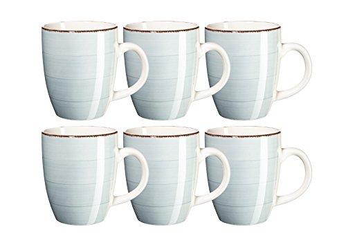 Mäser Serie Bel Tempo Kaffeebecher 39 cl Keramik Geschirr im 6er-Set in der Farbe Hellblau