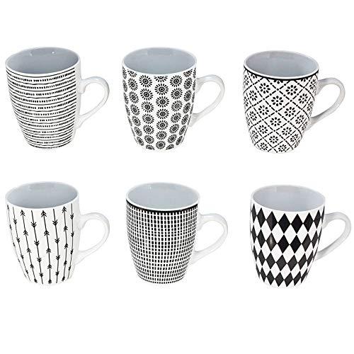 esto24 6er Set Landhaus Kaffeebecher Keramik 350ml in SchwarzWeiß Design für Ihr liebstes Heißgetränk für Kaffee Cappuccino und Latte Macchiato