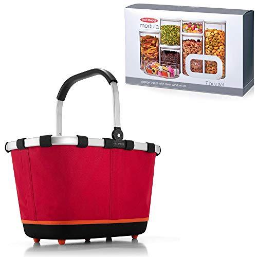 Rosti Mepal Modula Vorratsdosen Set 7-teilig Plus reisenthel carrybag 2 Einkaufskorb red