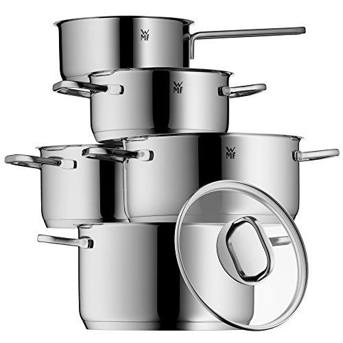 WMF Intension Topfset 5-teilig mit Glasdeckel Kochtopf Stielkasserolle Cromargan Edelstahl Poliert induktionsgeeignet spülmaschinengeeignet
