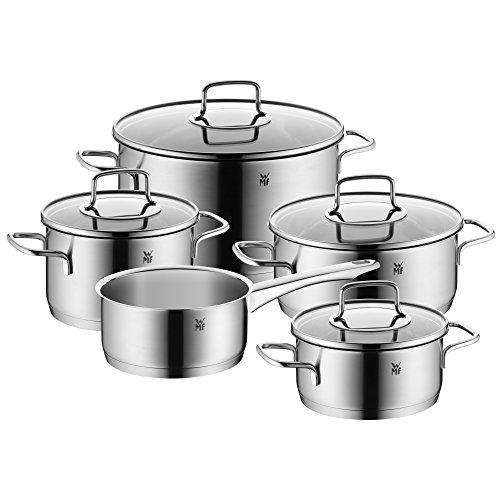 WMF Merano Topfset 5-teilig mit Glasdeckel Kochtopf Stielkasserolle Cromargan Edelstahl poliert induktionsgeeignet spülmaschinengeeignet