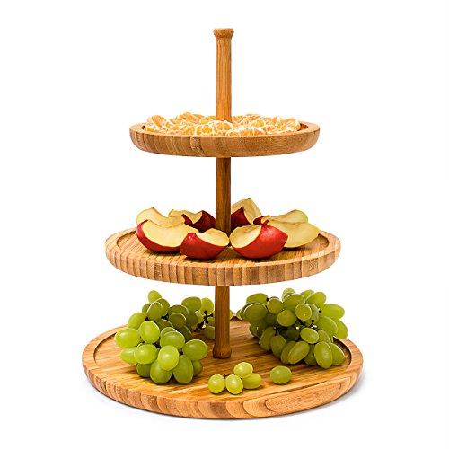 Relaxdays Etagere Bambus H 25 cm D 30 cm 3-stöckige Obstetagere aus Holz mit 3 runden Schalen zur Ablage von Gebäck Kekse Party-Snacks Nüsse Süßigkeiten als Obstteller und Servierplatte natur