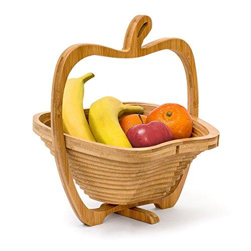 Relaxdays Faltkorb Apfel H x B x T 30 x 27 x 225 cm Klappkorb aus Bambus Obstkorb und Untersetzer Schneidebrett zum Falten Holz Obstschale in originellem Apfel-Design natürlich braun