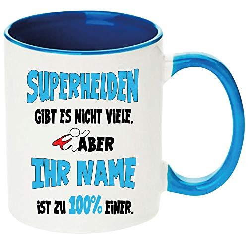 Namenstasse MännerFrauen Hellblau SuperheldSuperheldinnen zb mit Fabienne bedruckt Einfach Anpassen klicken und den Namen eintragen