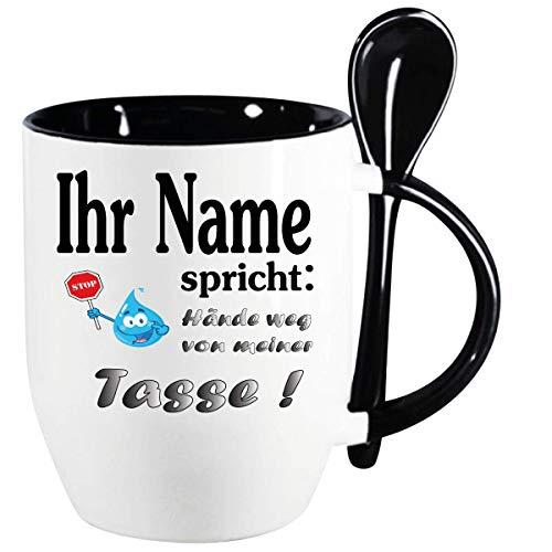 Personalisierte Namenstasse Hände weg Löffelbecher Schwarz Geben sie einfach den Namen ein Alle Namen verfügbar