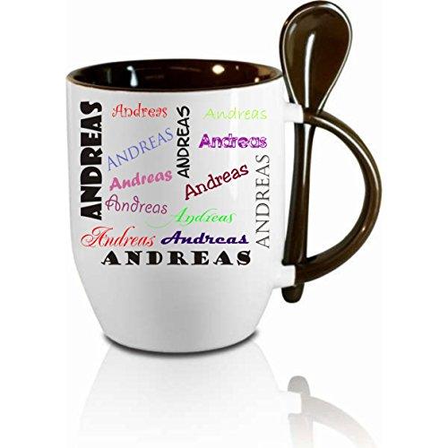 Tasse m Löffel  Namenstasse Wunschname  Löffeltasse Kaffeetasse mit MotivBürotasse bedruckte Tasse mit Sprüchen oder Bildern - auch individuelle Gestaltung nach Kundenwunsch