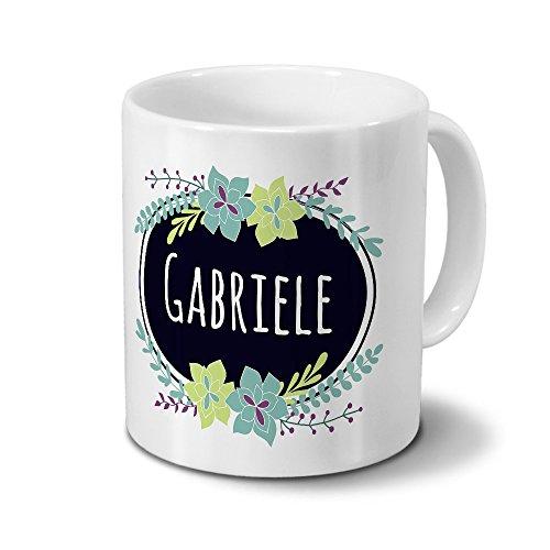 Tasse mit Namen Gabriele - Motiv Flowers - Namenstasse Kaffeebecher Mug Becher Kaffeetasse - Farbe Weiß